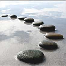 Stones lined up on the beach